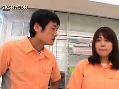 Mouth-watering japanese shop attendant gets muff  upskirt