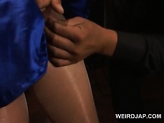 Chinese pregnant in  coochie teased in  stockings