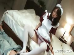 Chinese maid providing her nasty manager a footjob